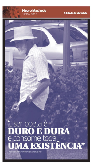 Capa do caderno especial sobre a vida e a morte de Nauro Machado