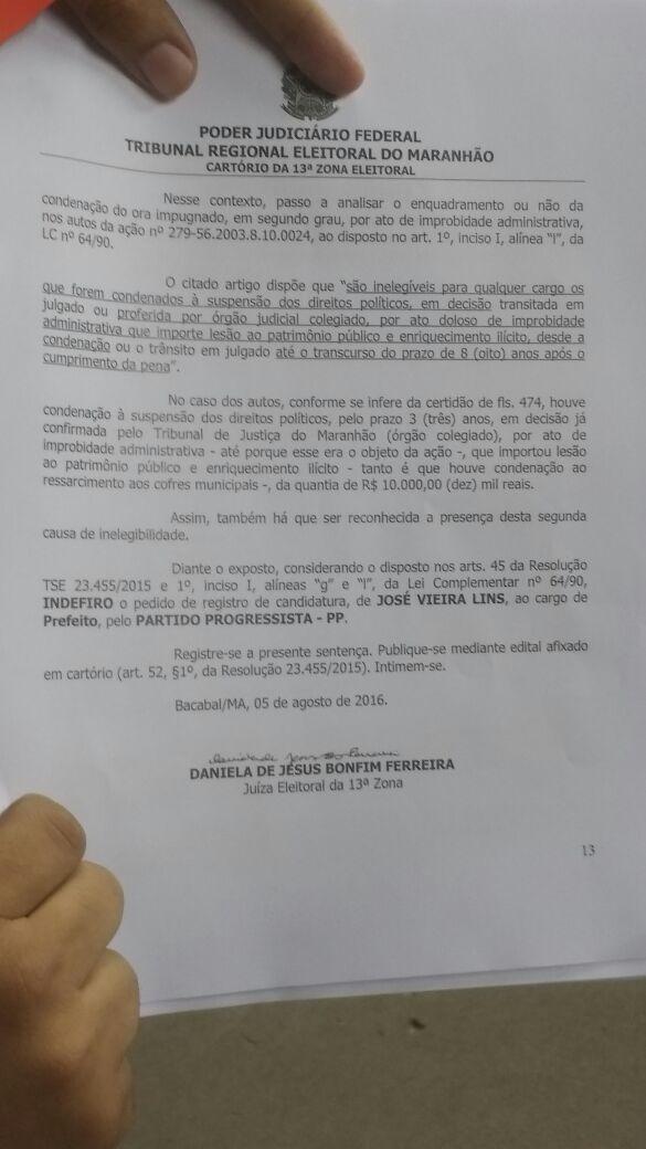 Zé Vieira indeferido